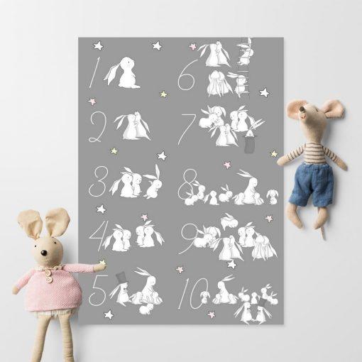 Plakat dla dzieci z zajączkami