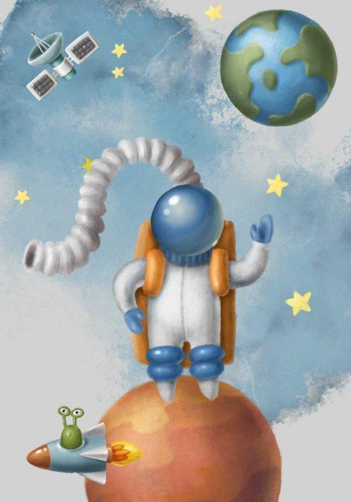 Plakat dla dziecka z astronauta w przestrzeni kosmicznej