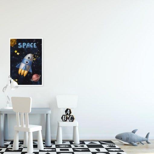 Plakat do dziecinnego pokoju z rakietą kosmiczną