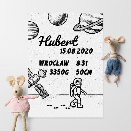 Plakat imienny z datą urodzenia dziecka