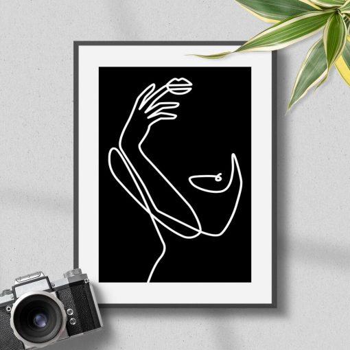 Plakat linie, kreski - styl line art