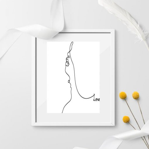 Plakat portret line art czarno-biały