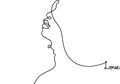 Plakat profil line art w kolorach czarno-białych