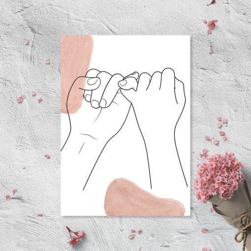 Plakat ręce line art