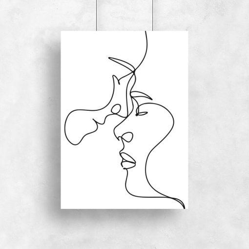 Plakat w stylu minimalistycznym z parą zakochanych
