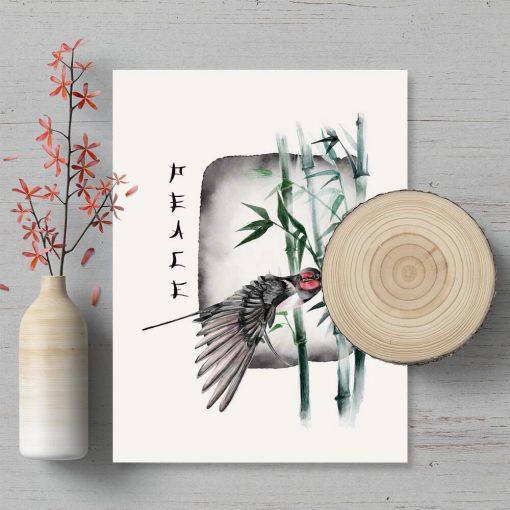 Plakat z bambusem i ptaszkiem