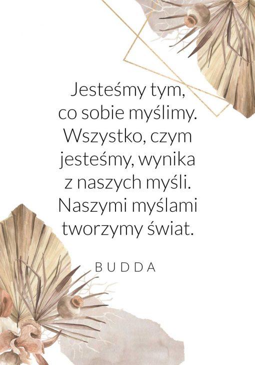 Plakat z cytatem Buddy o tworzeniu swiata