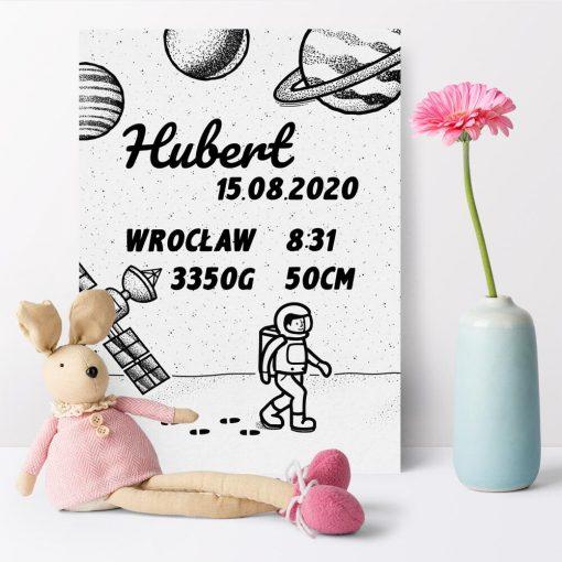 Plakat z danymi urodzeniowymi dziecka - podaj przy zamówieniu