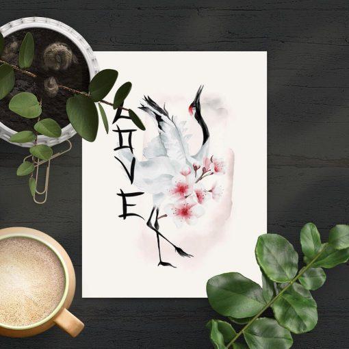 Plakat z japońskimi elementami natury