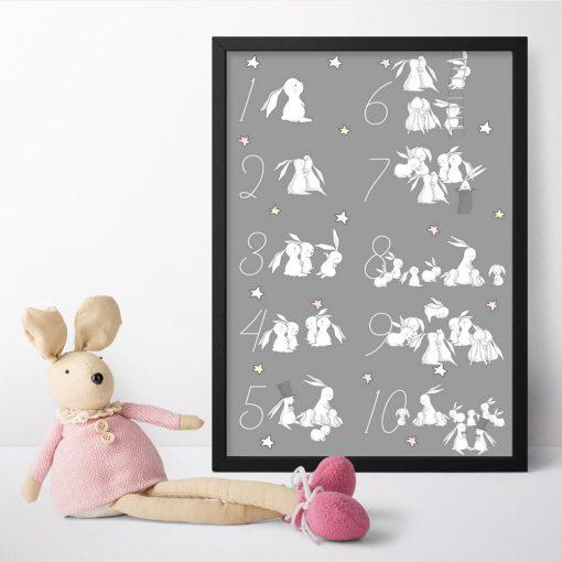 Plakat z króliczkami i cyframi