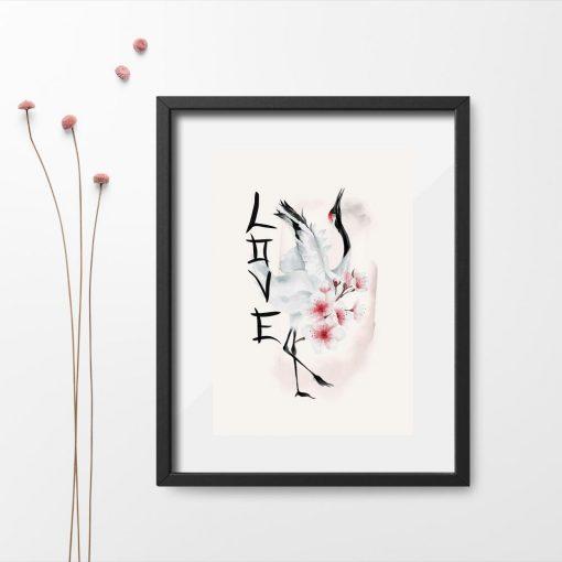 Plakat z kwiatami wiśni i napisem