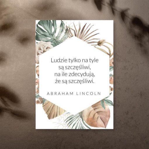 Plakat z maksymą Lincolna o szczęściu człowieka
