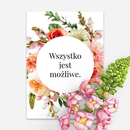 Plakat z motywem kwiatowymi typografią