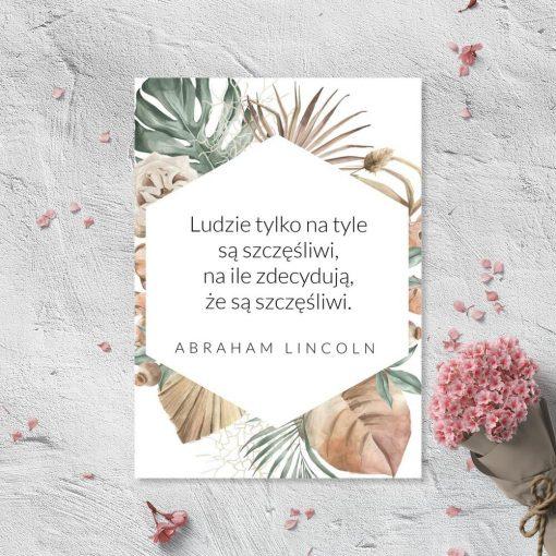 Plakat z motywem maksymy A. Lincolna o szczęściu