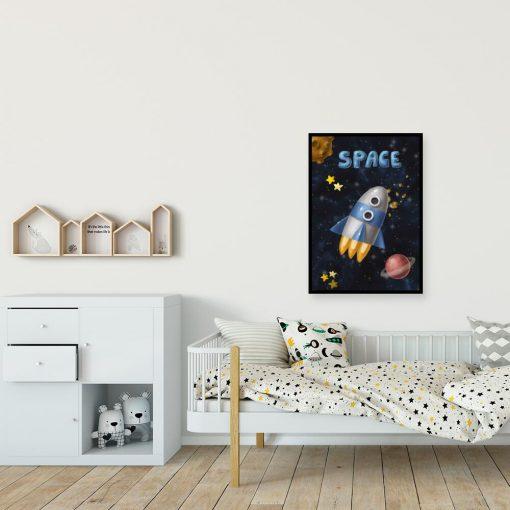 Plakat z motywem rakiety kosmicznej i napisem space