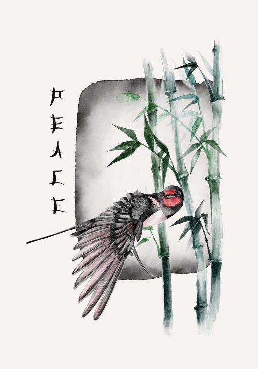 Plakat z ptakiem i bambusem oraz napisem