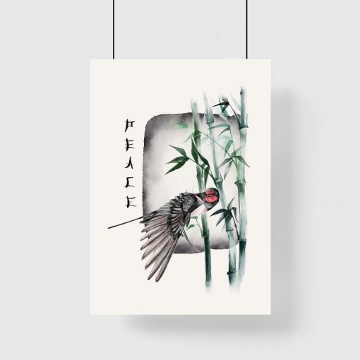 Plakat z ptakiem na tle bambusów