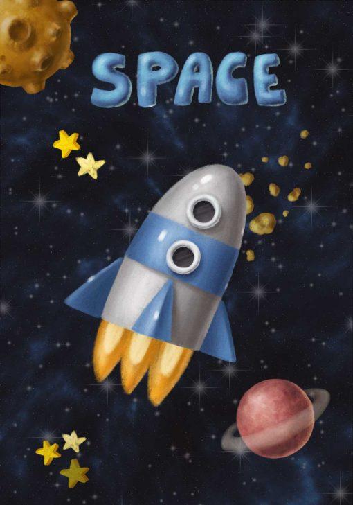 Plakat z rakietą kosmiczną i napisem space