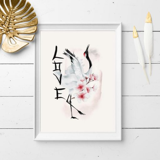 Plakat z żurawiem i napisem