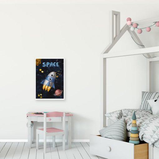 Plakat ze statkiem kosmicznym i napisem space