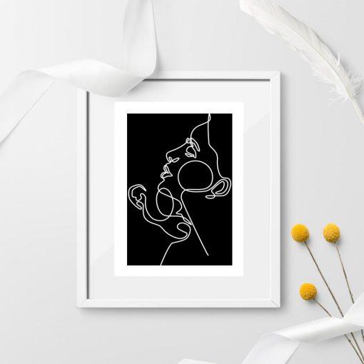 Plakat ze szkicem zakochanych