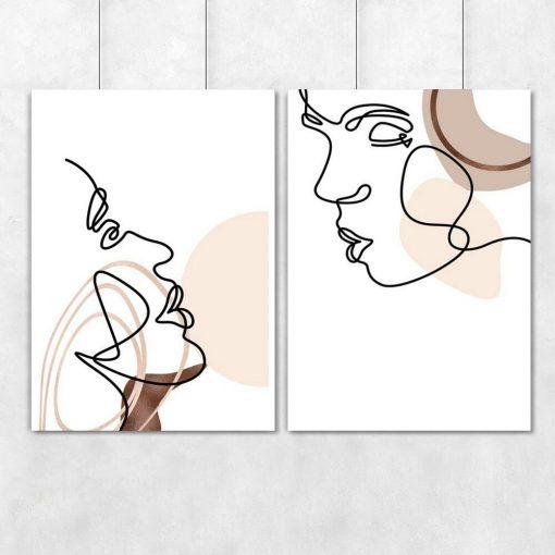 Plakaty dwa z motywem pocałunku one color