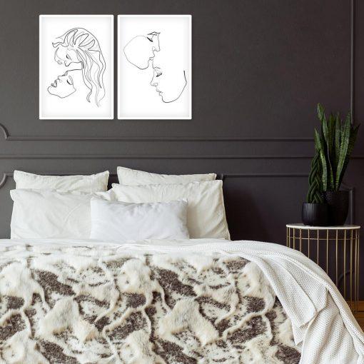 Plakaty dwie kobiety w stylu line art