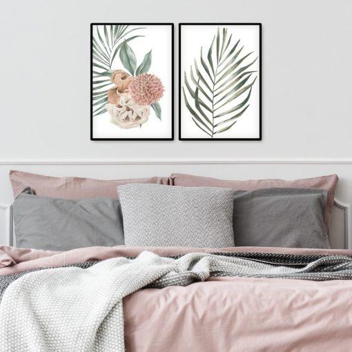Plakaty dyptyk z liśćmi i kwiatem dalii