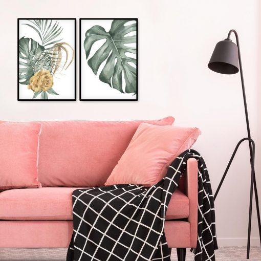 Plakaty kwiaty i liście na dyptyku