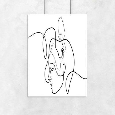 Plakaty line art do dekoracji salonu