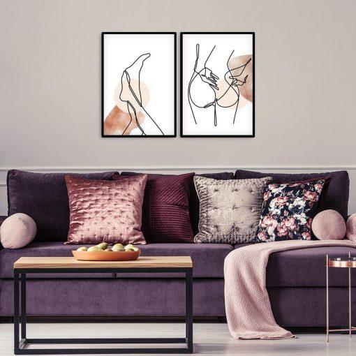 Plakaty z ciałem kobiety w stylu line art