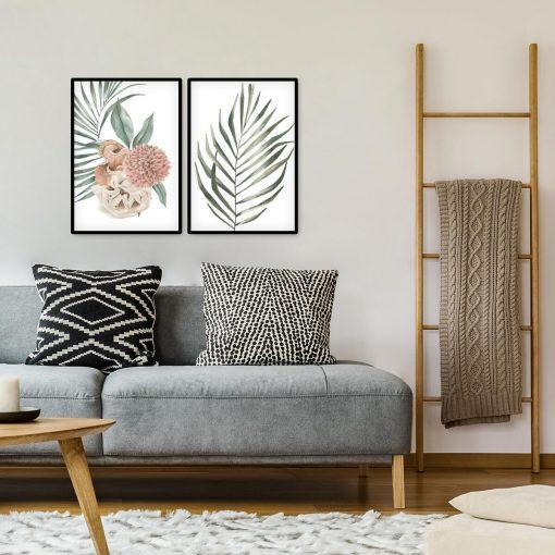 Plakaty z motywem liści i dalią