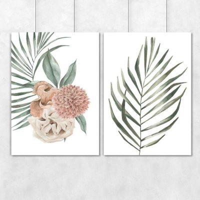 Plakaty z roślinami i dalią