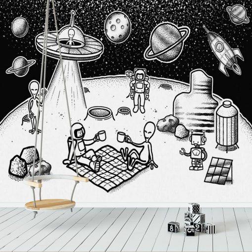 Foto-tapeta piknik na Księżycu z ufoludkami