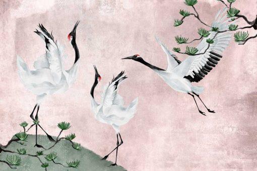 Foto-tapeta z trzema żurawiami na różowym tle