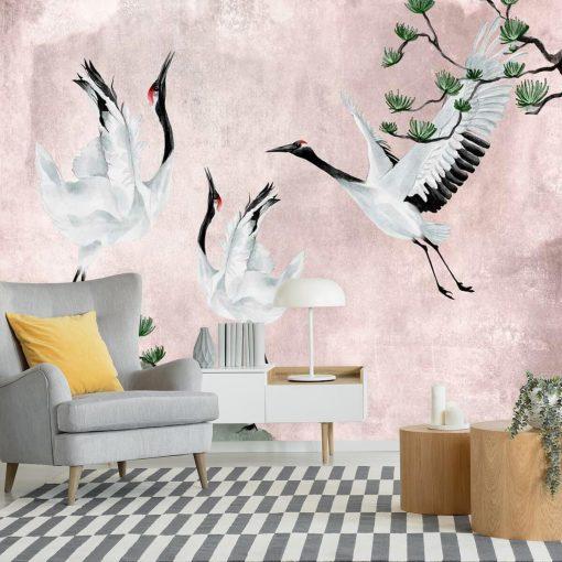 Fototapeta z ptakami w różowej tonacji