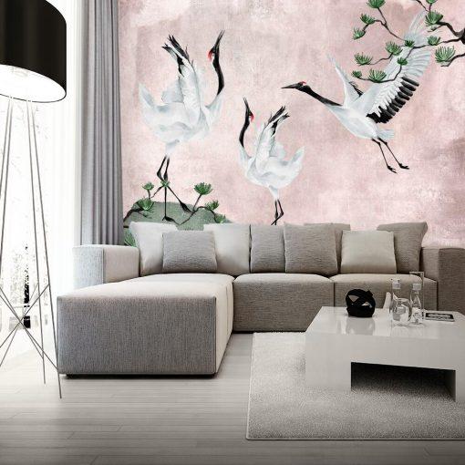 Fototapeta z żurawiami w różowym kolorze