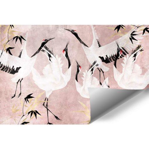 Różowa tapeta z motywem żurawi
