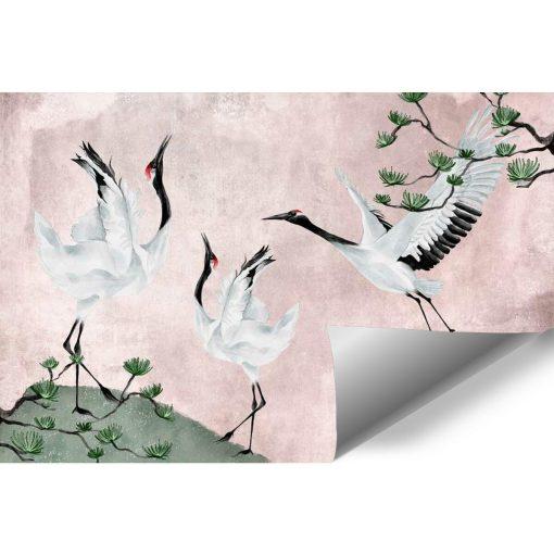 Różowa tapeta z ptakami