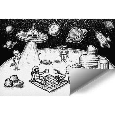 Tapeta z astronautami i mieszkańcami innej planety