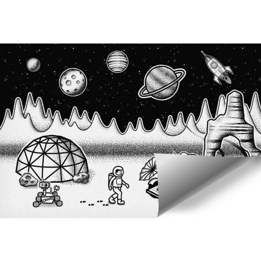 Tapeta z kosmiczną stacją w czarno-białych kolorach