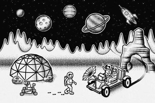 Tapeta z księżycową stacją badawczą