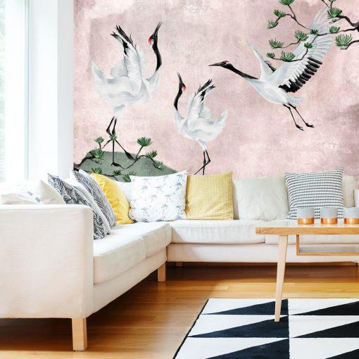 Tapeta z ptakami i sosną w różach