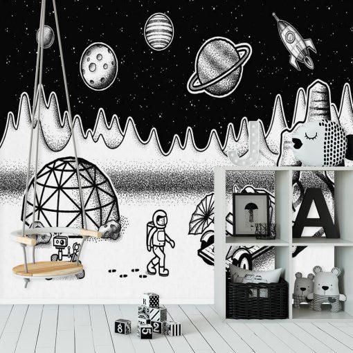 Tapeta ze stacją badawczą w kosmosie w stonowanych barwach