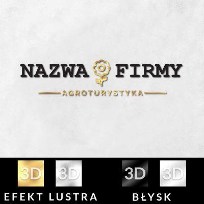 Agroturystyka - trójwymiarowy logotyp z kwiatem