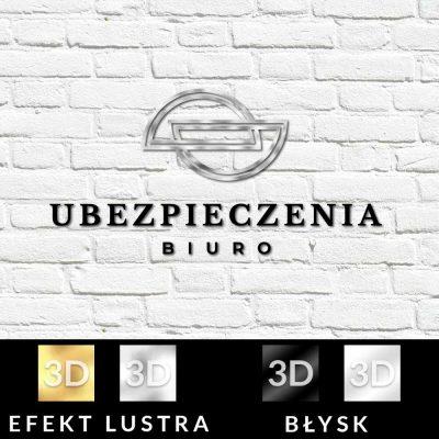 Logo 3d z półkolami do biura ubezpieczeń