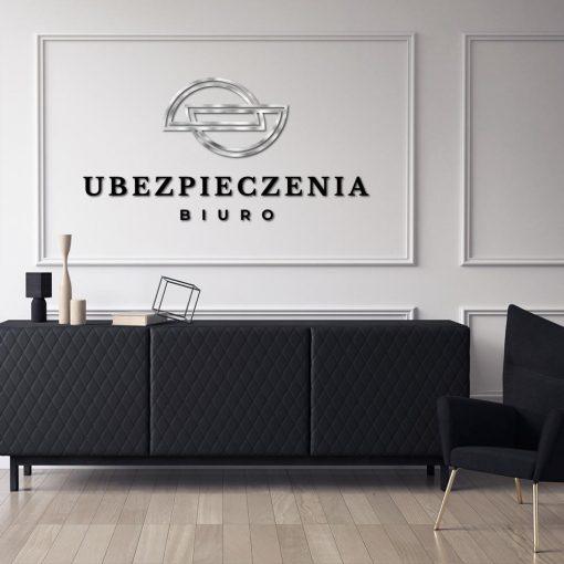 Logotyp 3d z półkolami do biura ubezpieczeń