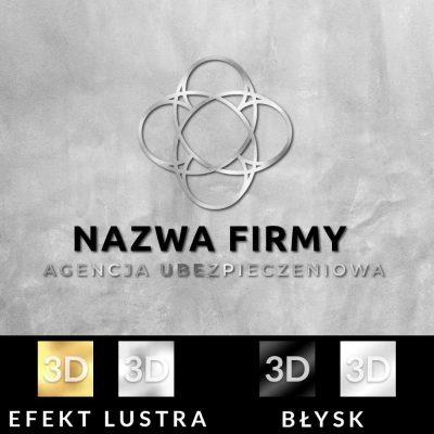 Przestrzenne logo dla biura ubezpieczeniowego z geometryczną koniczyną