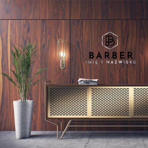 Przestrzenny logotyp dla barbera ze srebrnym ornamentem
