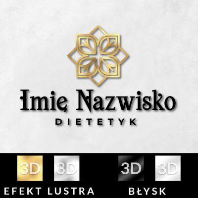 Przestrzenny logotyp z ornamentem dla dietetyka